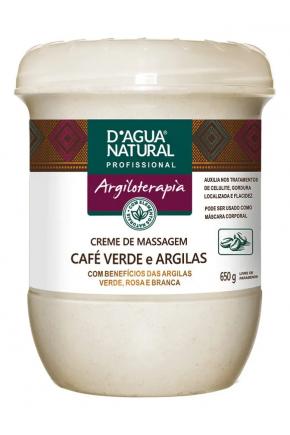 Creme de Massagem D'agua Natural Café Verde e Argilas 650g